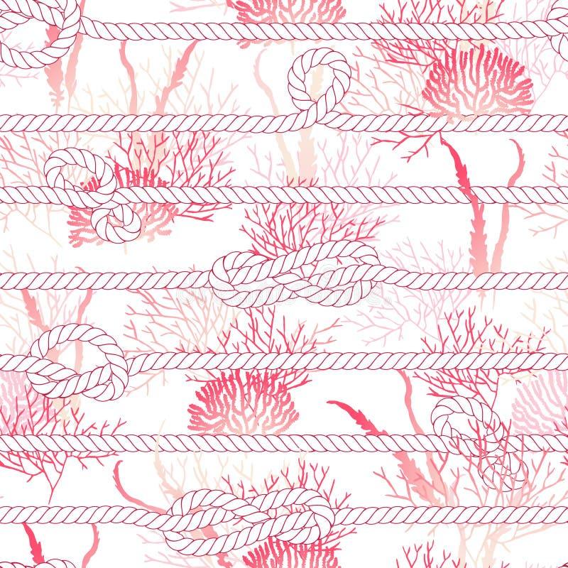 Rood koraal en mariene kabel naadloze vectordruk stock illustratie