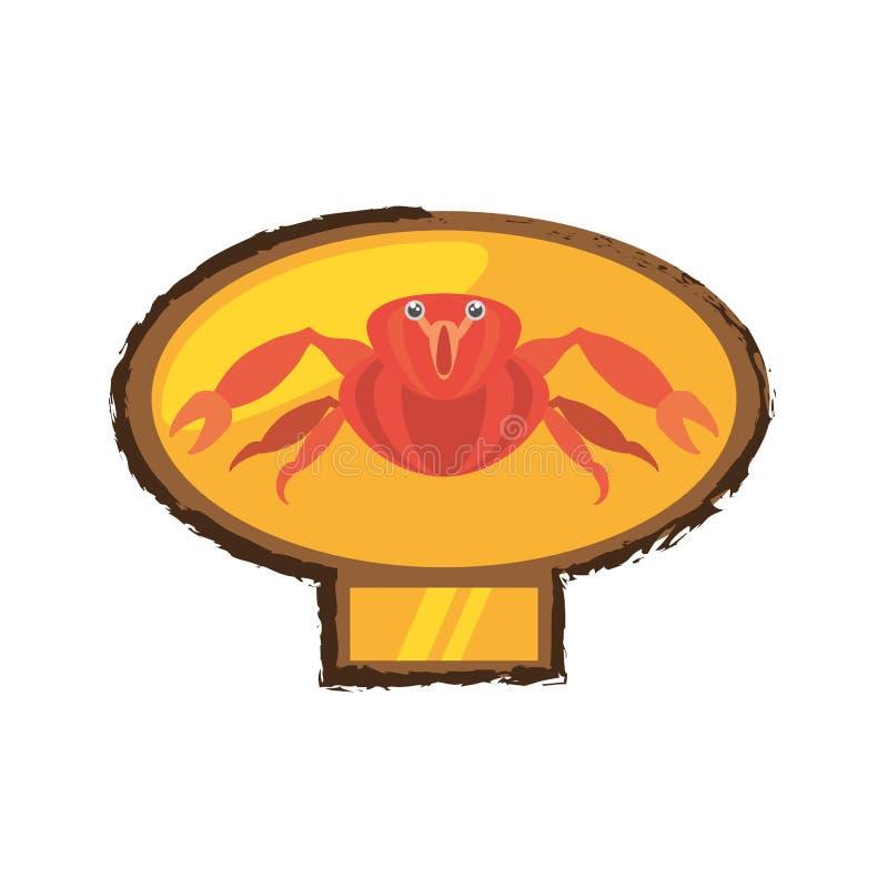 rood krab overzees het levens marien gouden embleem royalty-vrije illustratie