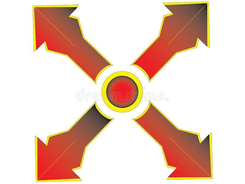 Rood kruis met oranje rand stock foto