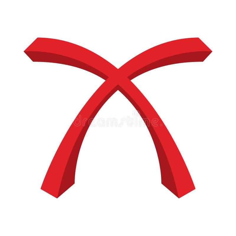 Rood kruis, vinkjepictogram, beeldverhaalstijl vector illustratie