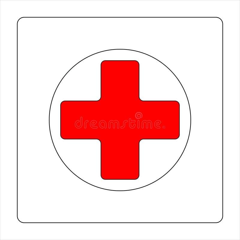 Rood kruisembleem stock illustratie