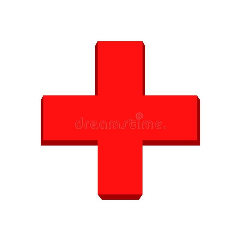 Rood kruissymbool Vector rood kruis stock illustratie