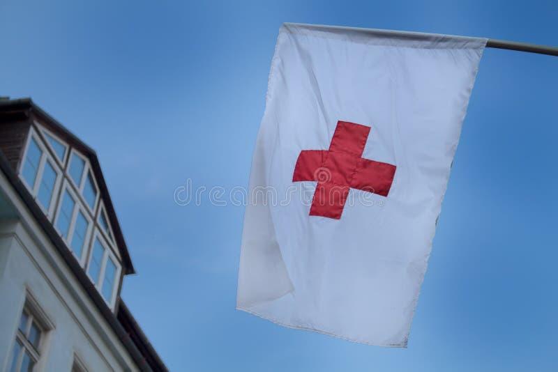 Rood kruisvlag stock foto