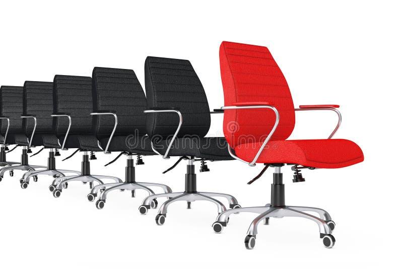 Rood Leer Chef- Office Chair als Leider in rij van Zwarte Stoelen royalty-vrije illustratie