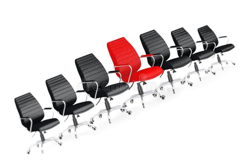 Rood Leer Chef- Office Chair Between Andere Zwarte Stoelen 3d ren vector illustratie