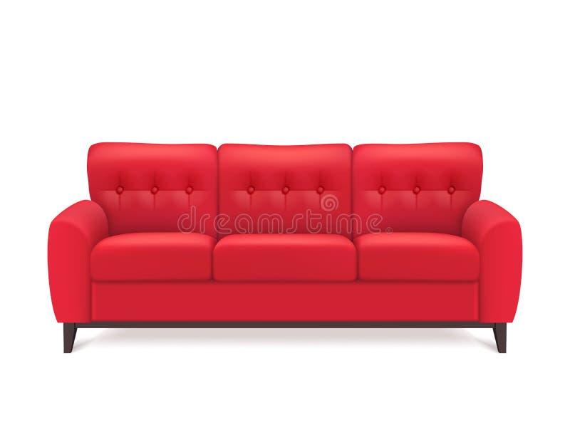 Rood Leer Sofa Realistic Illustration royalty-vrije illustratie