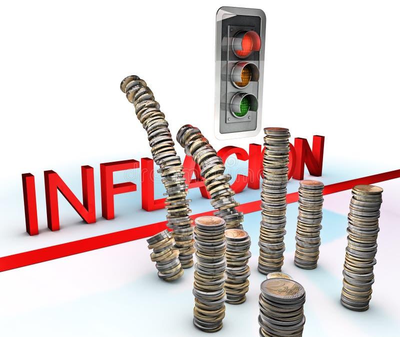 Rood licht op inflatie stock illustratie
