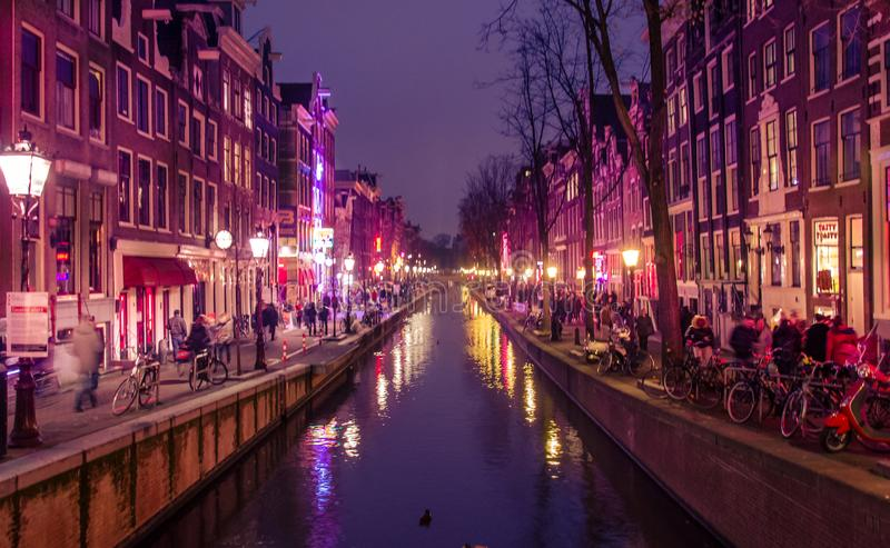 Rood lichtdistrict, Amsterdam - buitenissig in Amsterdam stock afbeeldingen