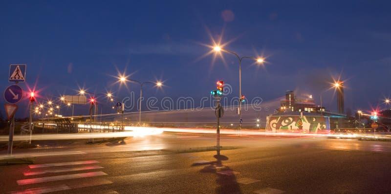 Rood lichten bij nacht royalty-vrije stock fotografie
