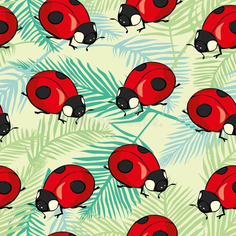 Rood Lieveheersbeestjes en lijnenbeeldverhaal naadloos patroon dat op een witte achtergrond wordt geïsoleerd stock illustratie