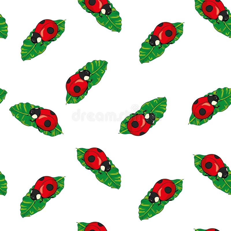 Rood Lieveheersbeestjes en lijnenbeeldverhaal naadloos patroon dat op een witte achtergrond wordt geïsoleerd royalty-vrije illustratie