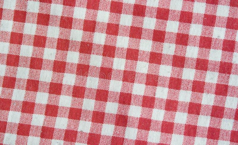Rood linnen geruit tafelkleed Rode en witte textuur royalty-vrije stock fotografie