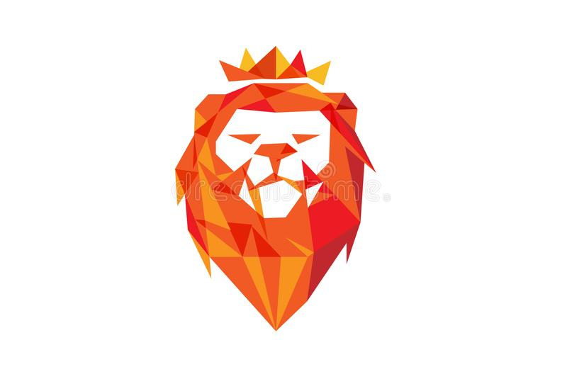 Rood Lion Head Logo stock illustratie