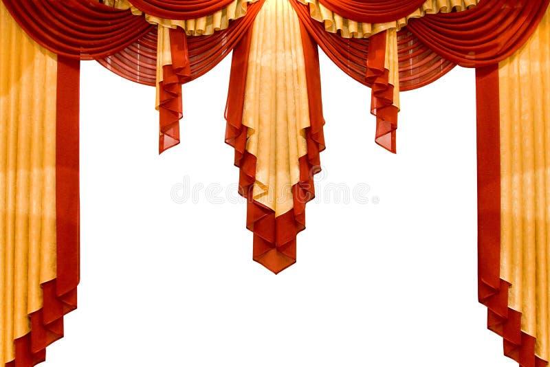 Rood met gouden stadiumgordijn stock fotografie