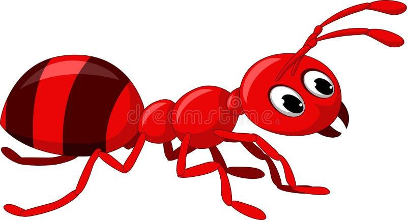 Rood mierenbeeldverhaal stock illustratie