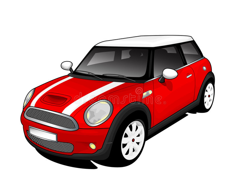 Rood Mini Cooper stock illustratie