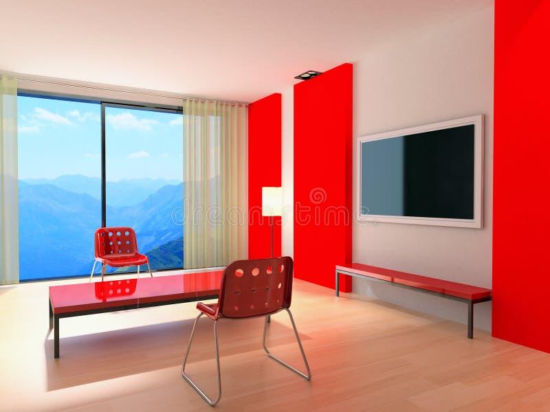Rood modern binnenland stock foto