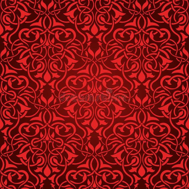 Rood naadloos behang royalty-vrije illustratie