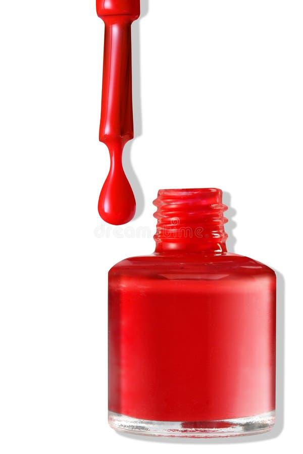 Rood nagellak Geïsoleerd op wit stock foto's
