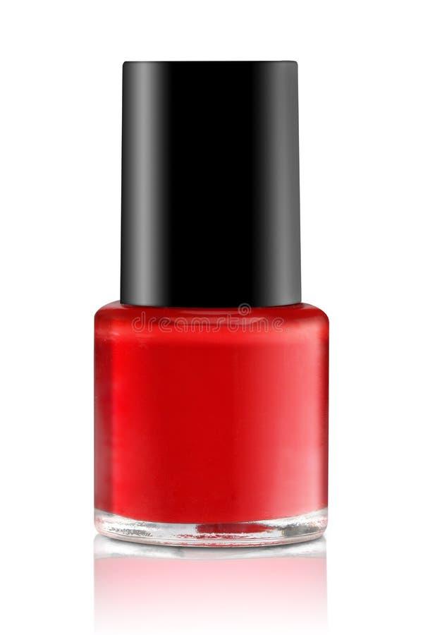 Rood nagellak Geïsoleerdj op witte achtergrond stock afbeelding