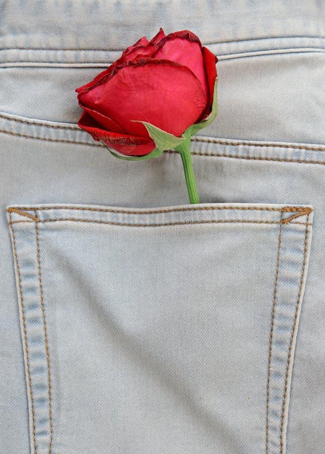 Rood nam blikken uit zakjeans toe (Valentine-concept) stock afbeeldingen