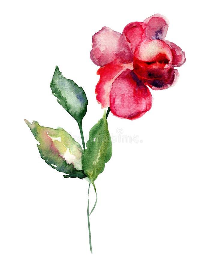 Rood nam bloem toe vector illustratie