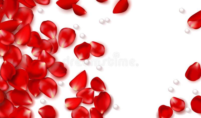 Rood nam bloemblaadjes en parels op witte achtergrond toe Gelukkige valentijnskaartendag Vectorvakantieillustratie Feestelijke de royalty-vrije illustratie