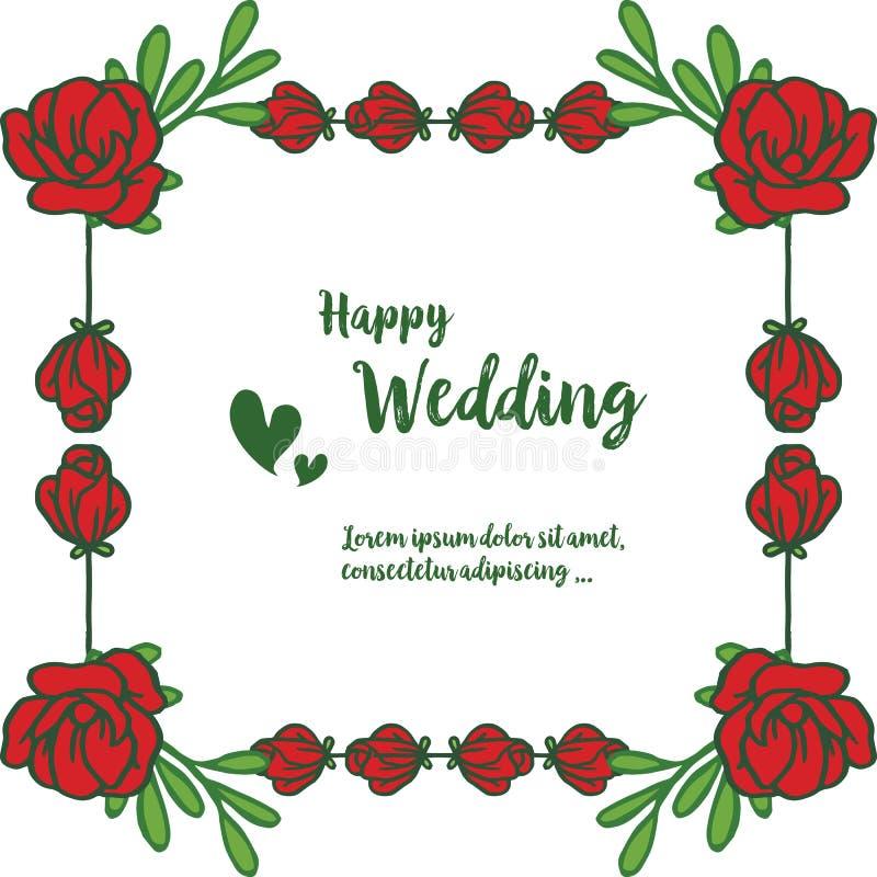 Rood nam bloemen, kader van blad, het van letters voorzien van gelukkig huwelijk, voor uitnodigingskaart, groetkaart toe Vector royalty-vrije illustratie