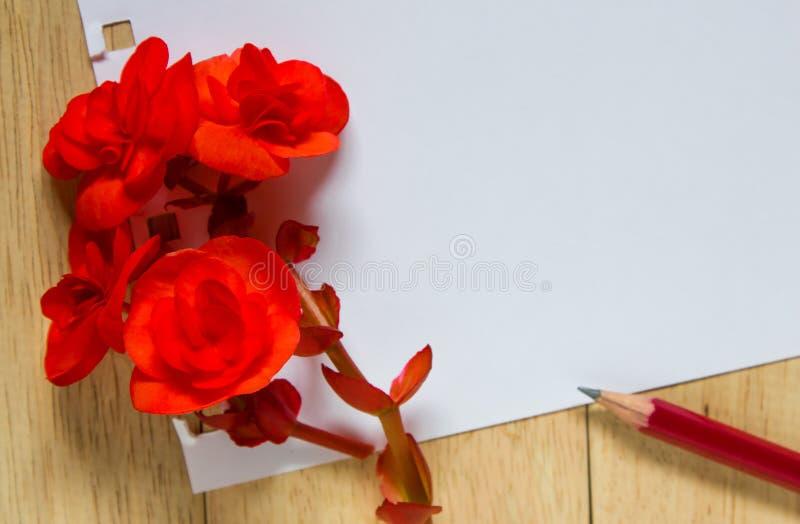 Rood nam en document voor bericht op houten achtergrond toe stock foto's
