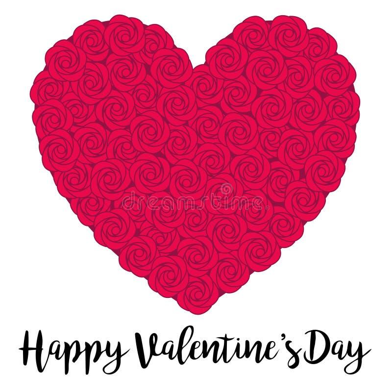 rood nam het hart van de valentijnskaartendag toe royalty-vrije illustratie