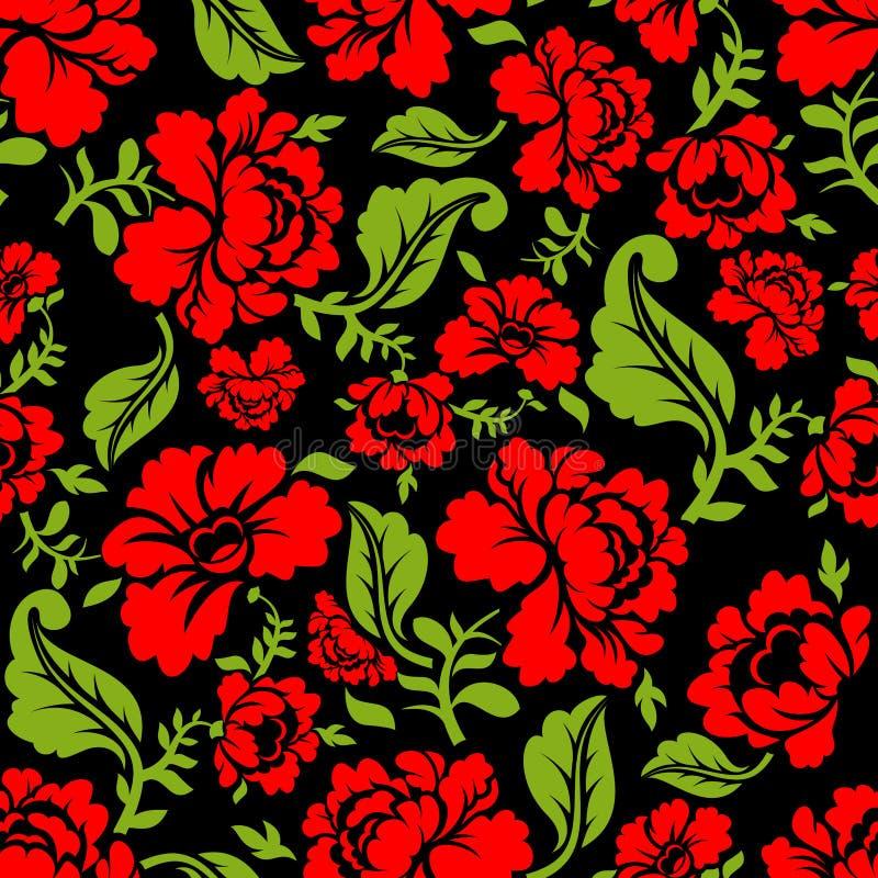 Rood nam naadloos patroon toe Bloemen textuur Russisch volksornament royalty-vrije illustratie