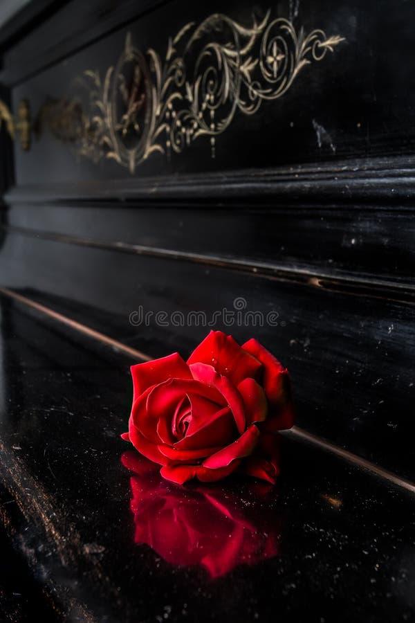 Rood nam op piano toe stock afbeeldingen