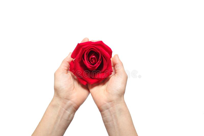 Rood nam overhandigt binnen witte achtergrond toe royalty-vrije stock afbeeldingen