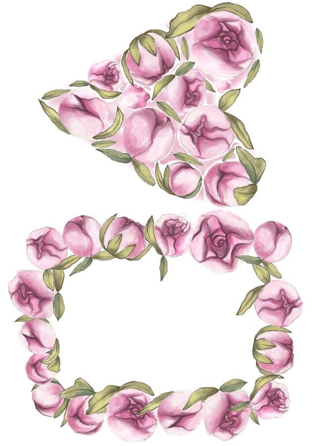 Rood nam toe Gevoelige Liefde Hand getrokken roze de pioenkaders van de waterkleur royalty-vrije illustratie