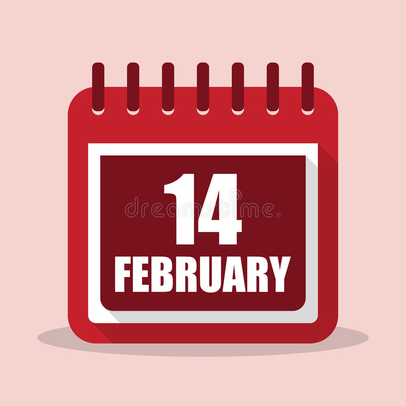 Rood nam toe Kalender met 14 februari in een vlak ontwerp vector illustratie