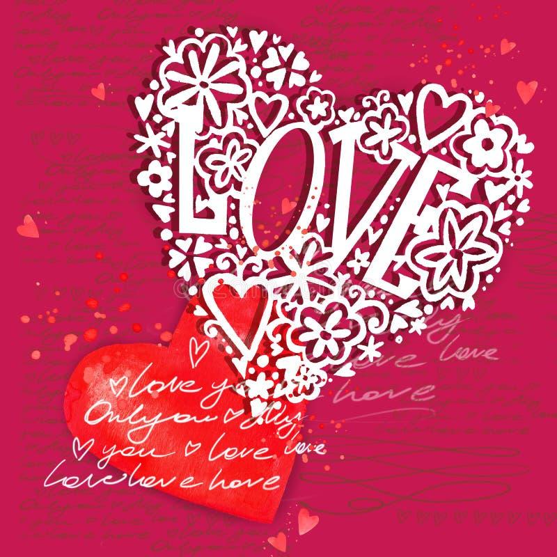 Rood nam toe Liefde u Het ontwerp van de huwelijksuitnodiging royalty-vrije illustratie