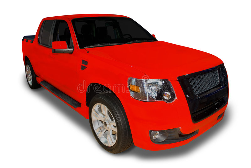 Rood neem Vrachtwagen op stock foto