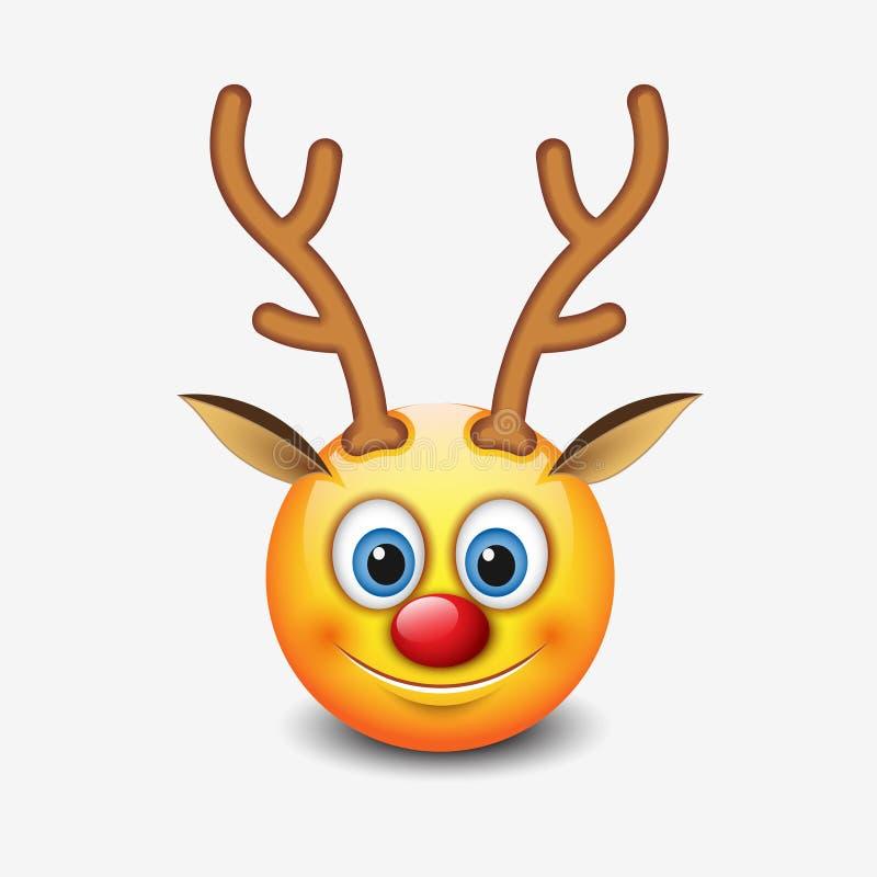 Rood-neusrendier emoticon, emojikarakter - smiley - vectorillustratie royalty-vrije illustratie