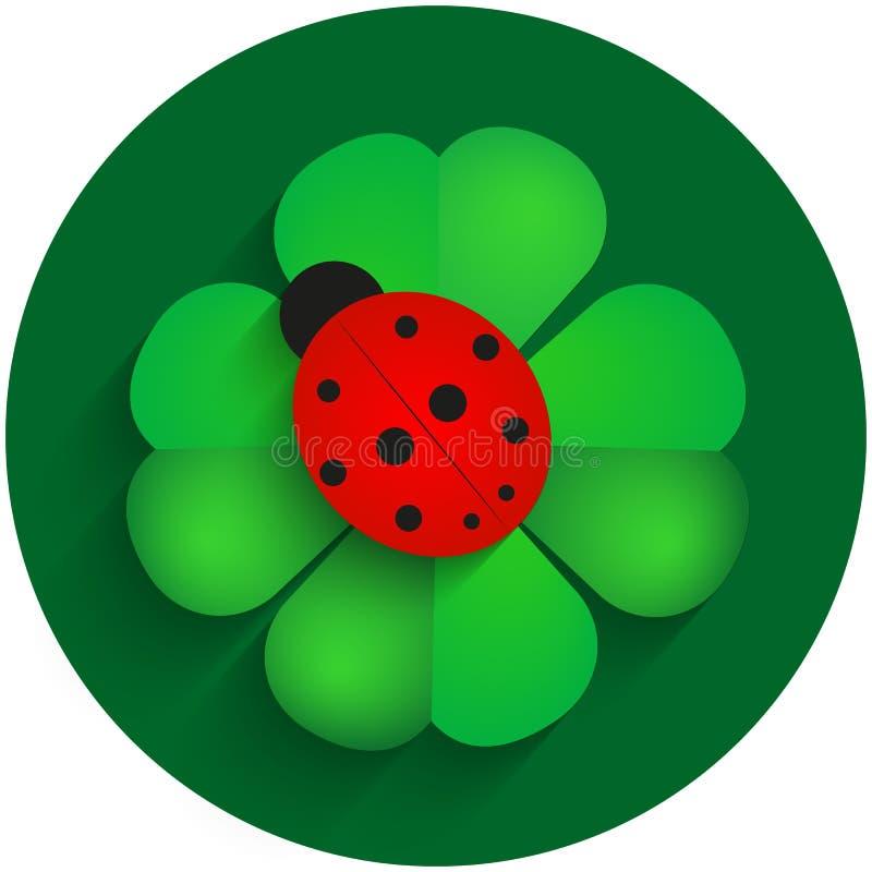 Rood onzelieveheersbeestje op groene klaver met schaduw royalty-vrije stock foto