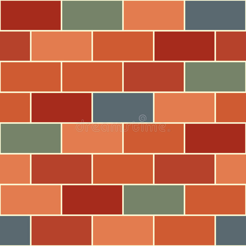 Rood Oranje Groen Gray Brick Wall Seamless Background vector illustratie