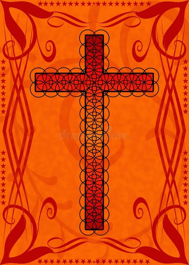 Rood Oranje Kruis Grunge vector illustratie