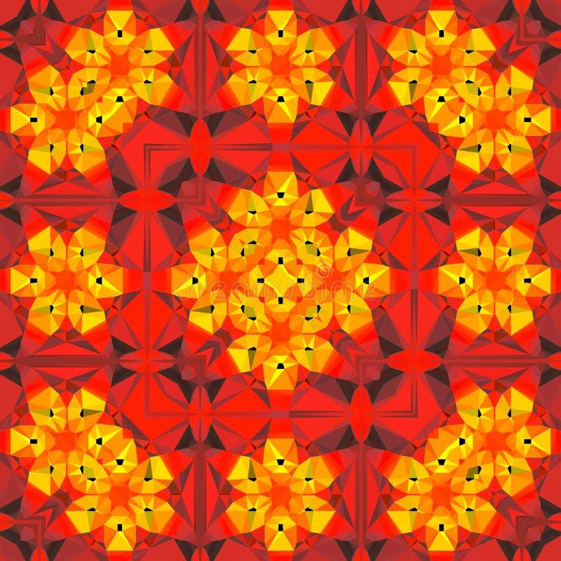 Rood oranje patroon van de kleurrijke caleidoscoop van de driehoeksbloem stock illustratie