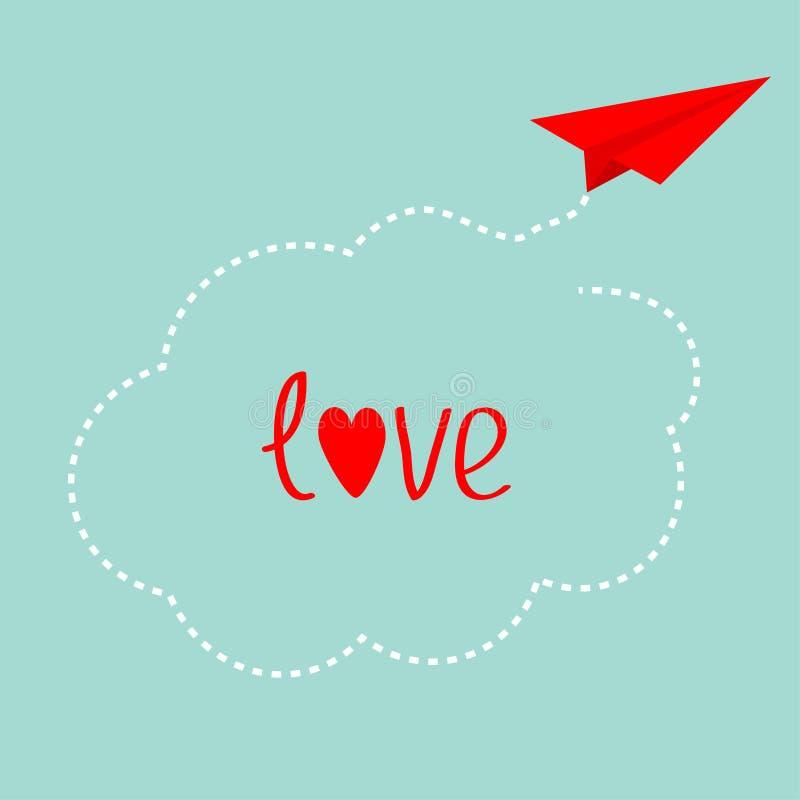 Rood origamidocument vliegtuig Streepjewolk in de hemel Gelukkige de liefdekaart van de Valentijnskaartendag Achtergrond voor een stock illustratie