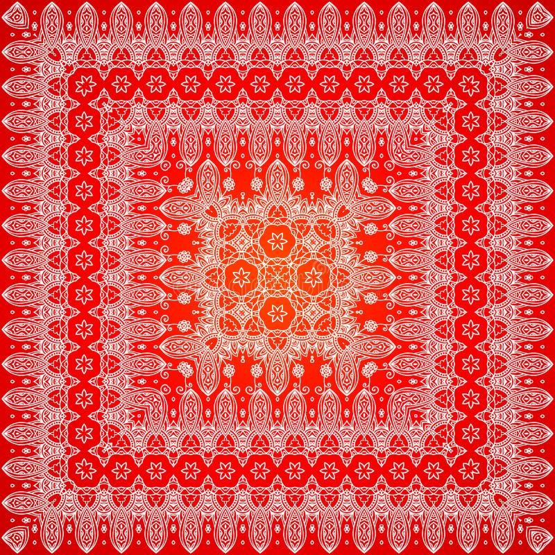Rood overladen sjaalpatroon stock illustratie