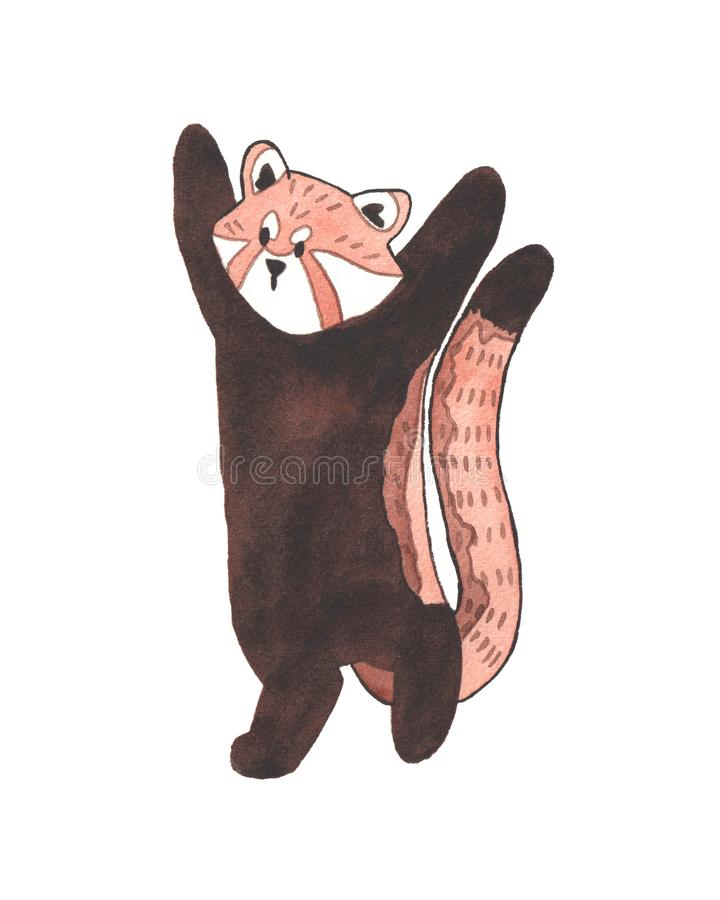 Rood Panda Watercolor stock illustratie