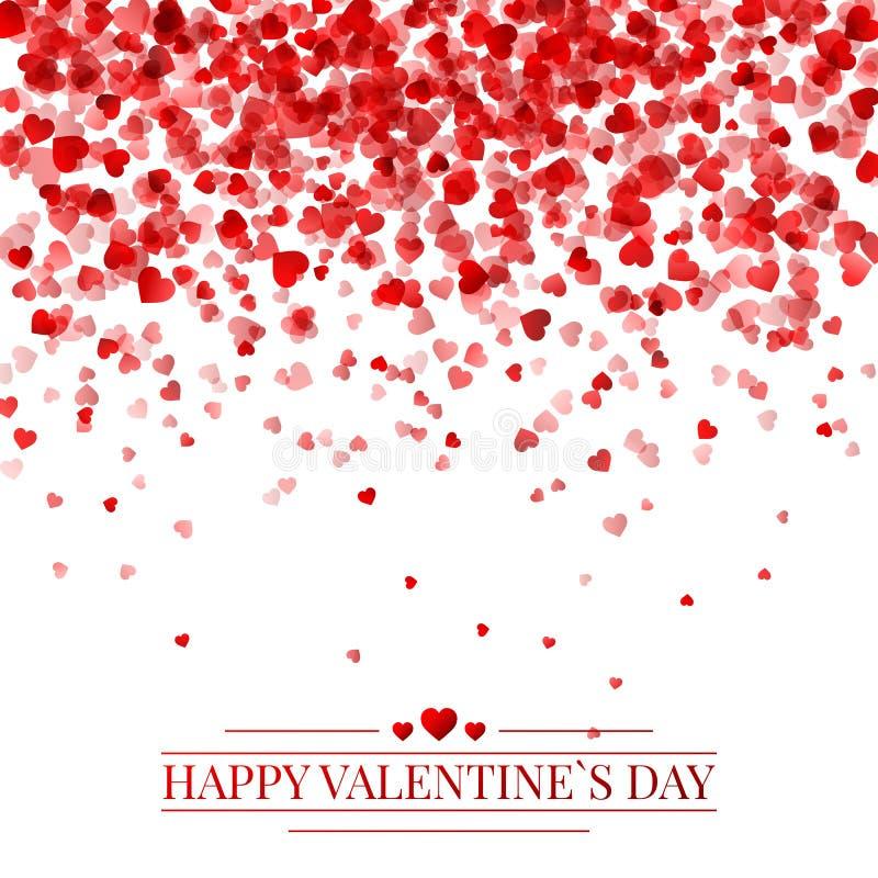 Rood patroon van willekeurige dalende hartenconfettien Het element van het grensontwerp voor feestelijke banner, groetkaart, pren stock illustratie