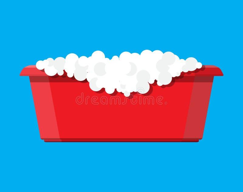 Rood plastic bassin met zeepzeepsop Kom met water royalty-vrije illustratie