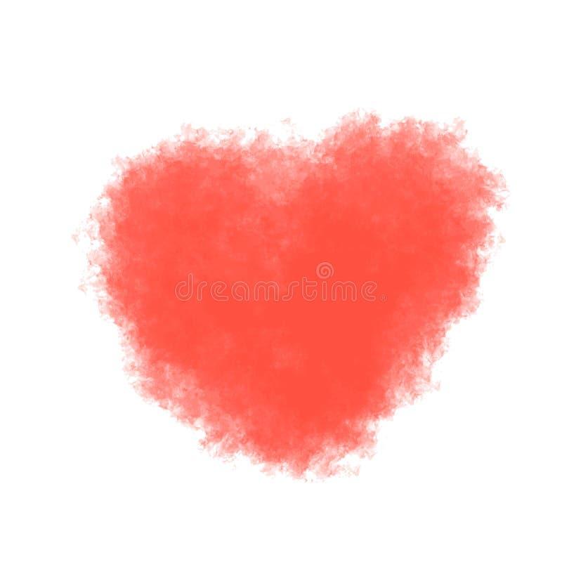 Rood pluizig hart, waterverfimitatie Vector stock illustratie