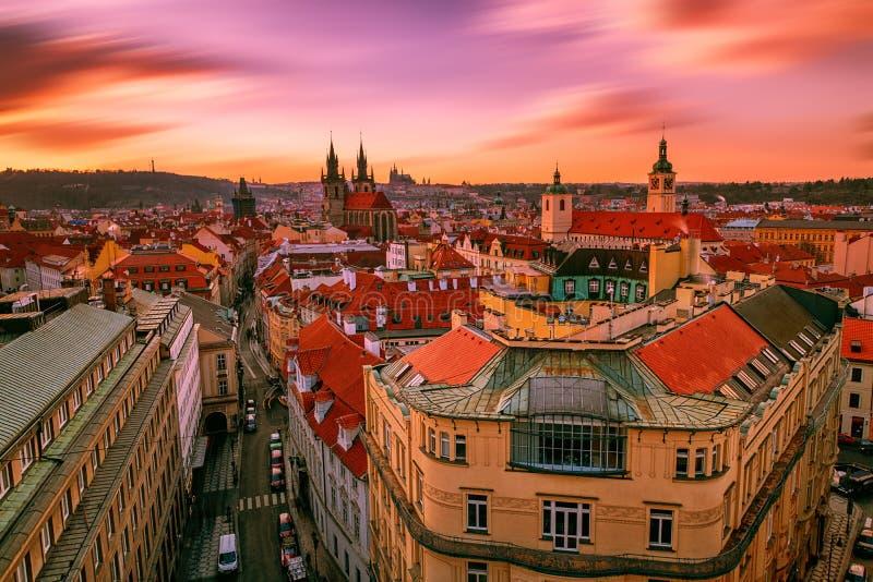 Rood Praag van Tsjech stock foto