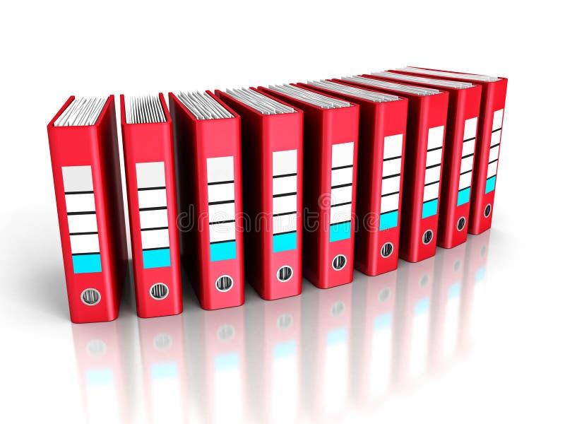 Rood Ring Binder Folders op Witte Achtergrond stock afbeeldingen